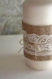 burlap and lace candle decor