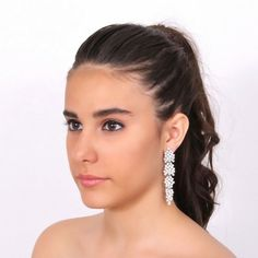 Wedding rhodium earrings with Swarovski crystal - Orecchini sposa rodio con strass Swarovski