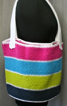 Handmade Crochet Tote bags - Indigo, Hot Pink, Hot Blue and Kiwi Tote Bag
