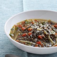 Lentil and Linguine Soup