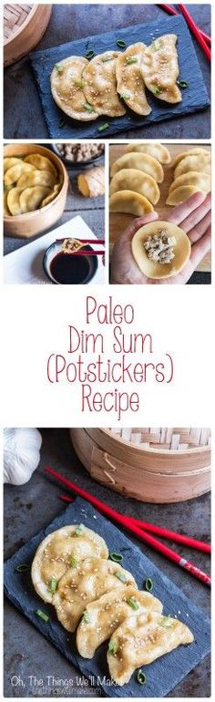 This paleo dim sum recipe uses a paleo pasta filled with flavorful ginger and pork and is steamed to perfection to make these amazing Asian potstickers. (Asian Paleo Recipes)