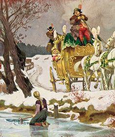 """""""Die drei Männlein im Walde"""" - Illustration zu Grimms Märchen, von Professor Paul Hey, Maler, Grafiker und Illustrator (19.10.1867 in München - 14.10.1952 Gauting)"""