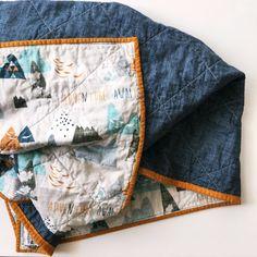 Gender Neutral Quilt Baby Bedding Blue Orange by skybluepinkstudio