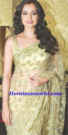 Dia Mirza in light gold saree