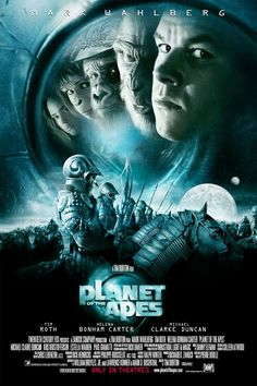 Directed by Tim Burton. With Mark Wahlberg, Helena Bonham Carter, Tim Roth, Michael Clarke Duncan. In an Air Force astronaut crash-lands on a mysterious planet where evolved, talking apes dominate a race of primitive humans. Films Récents, Films Cinema, Sci Fi Films, Cinema Posters, Movie Posters, Mark Wahlberg, Movies And Series, Hd Movies, Movies Online