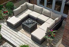 Paris Rattan Weave Modular Sofa Set Outdoor Garden Furniture / Conservatory Patio Furniture (MIXED BROWN WEAVE)
