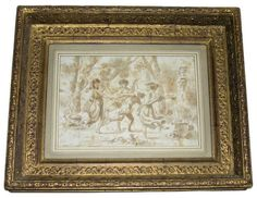 "This French School painting, circa 1900, in brown ink depicts a joyous Roman Bacchanale scene. Giltwood glazed frame measures 17.75"" by 21.75"" by 2.75"". Portion of painting visible und"