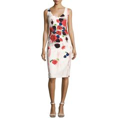 David Meister Sleeveless Floral Cocktail Dress ($550) ❤ liked on Polyvore featuring dresses, pink pattern, pink dress, sheath dress, white dress, flower print dress and floral print cocktail dress