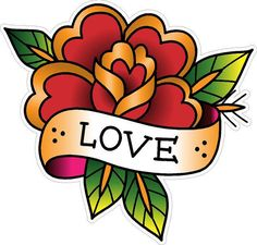 380 Vintage Old School Tattoo Decal Classic Flower Love Sailor Jerry Style | eBay