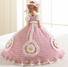 Introducing another breathtaking fashion doll from designer Inez Collins Scott. This doll makes a great gift for a little girl, or a little girl at heart! The beautiful southern belle's clothes are made from size 10 crochet cotton thread. The pattern includes instructions for the dress and hat as well as for the skirt form underneath.