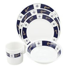 Dinnerware Dishes Melamine Nautical Durable Boat Galley 4 Place Setting Chef