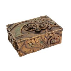 "Gear Trinket Box | dotandbo.com $29.99 QUALITIES Dimensions: 5"" W x 3.5"" D x 2"" H Material: Resin"