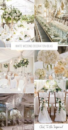 All-white weddings are so romantic and can create an atmosphere of pure elegance or winter fairytale. This subtle and light color can appear on most wedding decorations like centerpieces, flowers, tables. Be creative with an all-white wedding decor to not Black Wedding Themes, White Wedding Decorations, Pink Wedding Theme, Elegant Centerpieces, Elegant Wedding Cakes, Black Wedding Dresses, Wedding Flowers, Elegant Wedding Colors, Beige Wedding