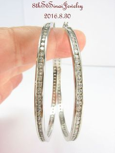 "2-1/4""Long Sterling Silver 925 Channel Set Cubic Zirconia Large Hoop Earrings…"