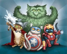 Superhero Cat Art By Alana McCarthy -- There are more at the link and they're hilarious!!!