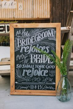 Chalk signage | photo by Shannen Natasha Weddings | Read more -  http://www.100layercake.com/blog/?p=71772