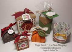 Fun & Festive Boxes Class - Create 6 adorable boxes in a variety of styles and sizes.  Class-to-go Kits available!  Register by September 15, 2014.   Details at www.toocoolstamping.com.