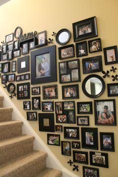 Best wall picture arrangements hallways home decor 18 ideas Collage Mural, Wall Collage Decor, Collage Pictures On Wall, Picture Wall Collage, Family Wall Collage, Picture Frames, Staircase Wall Decor, Stair Walls, Picture Wall Staircase