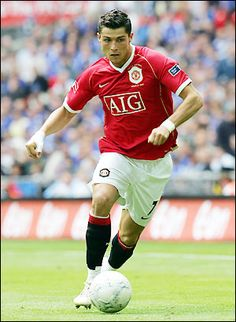 Cristiano Ronaldo in action, playing for Manchester United (Red Devils)