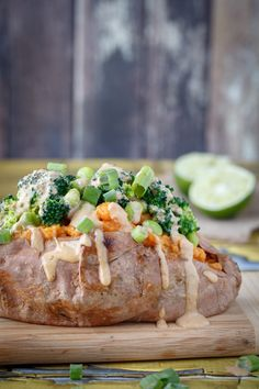 Thai peanut stuffed sweet potato. This sauce would be great on anything- chicken, veggies, anything. This dinner was great.