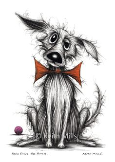 Posh paws the pooch Print download Happy pet dog doggie pooch hound who's rather scruffy with a sticky up ear a trendy bow tie and new ball by KeithMills on Etsy
