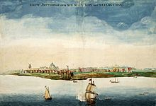 New Amsterdam as it appeared in 1664. Under British rule it became known as New York.