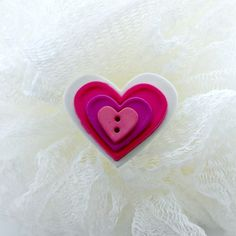Heart Brooch Pin Button Embellished Valentines Day by PowersOfLove, $2.50