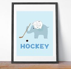Baby Boy Hockey Elephant Nursery Art Decor, sports nursery art and decor - for boys room, childrens room - hockey baby hockey decor on Etsy, $15.00
