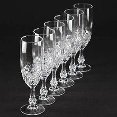 6 Vintage Becher Gläser Sektgläser Sektkelche Kristall Gläser Diamant Waffel W2D