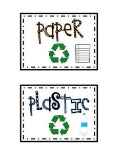 These labels can be used for your classroom or home bins to organize and sort your recycling.I included two different types as well as color {can be printed on white cardstock} and non-color {to be printed on colored cardstock}These labels could also be used during Earth Day activities,If I forgot to include something or if you need a label slightly different just email me at: tamalemeg@gmail.comPlease visit me at my blog at www.firstgradewithacherryontop.blogspot.com