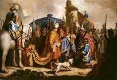 David presenta la cabeza de Goliat al rey Saúl. 1627 REMBRANDT