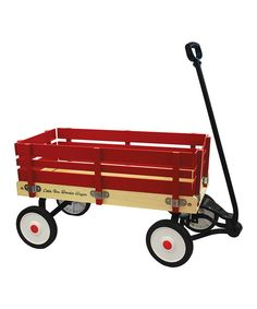 A childhood classic, this wooden wagon holds classic charm while still being useful for kids today. Retaining a traditional design, it boasts a bright red and sturdy construction with removable side panels, making perfect for transporting toys, gear and anything else little ones need.