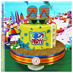 Party with handmade & All all high quality cakes. Delicious for every occasion.Spoil your senses. Pool Birthday Cakes, Pool Party Cakes, Pool Cake, Pool Party Kids, Themed Birthday Cakes, Birthday Ideas, Combined Birthday Parties, Splash Party, Marzipan
