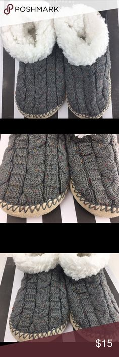 Gray Speckled Knit Bootie Slippers w/ Cozy Inside Features * 100% Polyester * Imported * Synthetic sole * Care Instructions: Machine Wash Cold * Sizing guideline: We have noted that a size 8 would fit comfortably in the L/XL. Any size below an 8 we recommend the Small/Medium size. CONDITION: New  ❌Trades❌ ⚡️We ship lightening fast⚡️ Discounts with bundles  Also available in speckled gray and black lil+lo Shoes Slippers