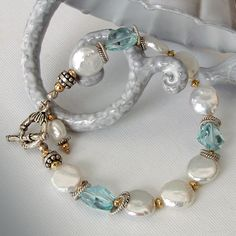 Blue Topaz Bracelet - White Coin Pearls, Sterling Silver…