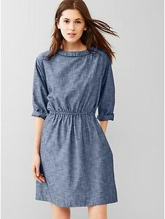 Chambray relaxed dress - love the neckline