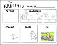 read The Gruffalo: learn about story elements - rubber boots and elf shoes Gruffalo Eyfs, Gruffalo Activities, The Gruffalo, Reading Activities, Story Elements Activities, Character Activities, Preschool Literacy, Literacy Activities, Gruffalo Characters