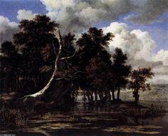 Oaks par un lac avec des nénuphars (2), huile sur toile de Jacob Isaakszoon Van Ruisdael (Ruysdael) (1628-1682, Netherlands)