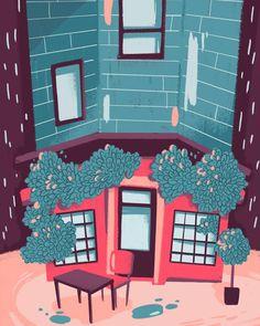 #pub #england #london #rain #urban #illustration #night Rainy Night, London Rain, My Arts, Urban, City, Illustration, England, Instagram, Design