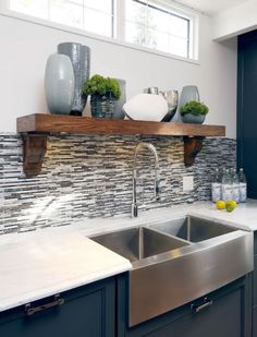 stainless farmhouse sink interior design, back splashes, design homes, contemporary kitchens, tile, shelv, farmhouse sinks, kitchen sinks, stainless steel