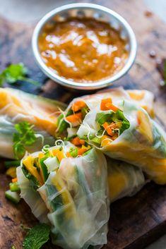 Mango Bell Pepper Rice Paper Rolls + Mango Cilantro Dipping Sauce