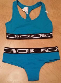 Victorias Secret Fashion Show PINK Logo Sports Bra & Panty Set Size Med  Blue #VictoriasSecret #SportsBras