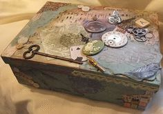 Vintage style altered tea bag box with lots of vintage bits and pieces and TimHoltz sprockets--by Julie Dandy