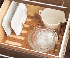 Cleaning Organization Use A Pegboard Base And Pegs To Organize Dish Storage In Drawer