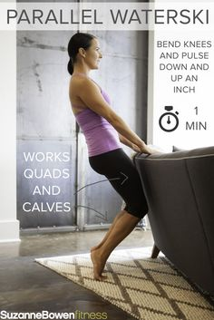 """This Classic Barre Thigh Workout targets mainly the quads, the major muscle group of the legs. There are advanced modifications to """"Make it Fire"""" taken from our BarreAmped Fire Classes! Barre Moves, Pilates Barre, Barre Workouts, Quad Exercises, Thigh Exercises, Pool Exercises, Balance Exercises, Workout Routine For Men, Workout Men"""