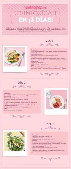 Dieta desintoxicante en 3 días. Infografía con recetas! #infografias #receas #detox