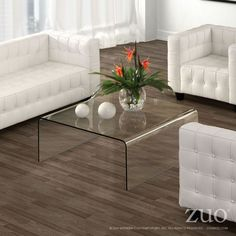 Zuo Modern 404119  Sojourn Coffee Table  in Clear Glass
