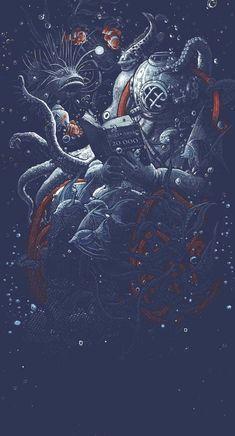 The Art Of Animation, Georges le Mercenaire Graffiti, Space Artwork, Arte Cyberpunk, Octopus Art, Leagues Under The Sea, Sea Art, Dope Art, Fantasy Art, Concept Art