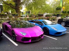 Lamborghini Aventador spotted in London, United Kingdom  Proof that the Lamborghini Aventador can look stunning in any color, even this crazy metallic purple.
