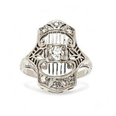 Vintage Antique Diamond Engagement Ring | Art Deco Unique Navette Engagement Ring